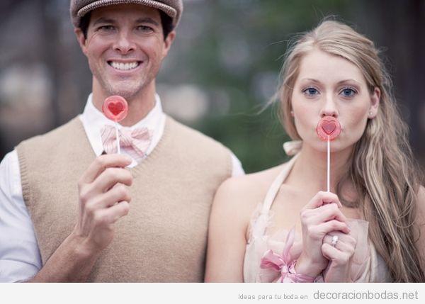 Ideas decorar boda San Valentín con piruletas de corazones