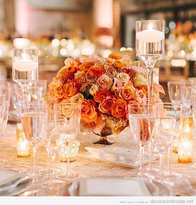 Rosas color naranja para decorar mesa boda 2