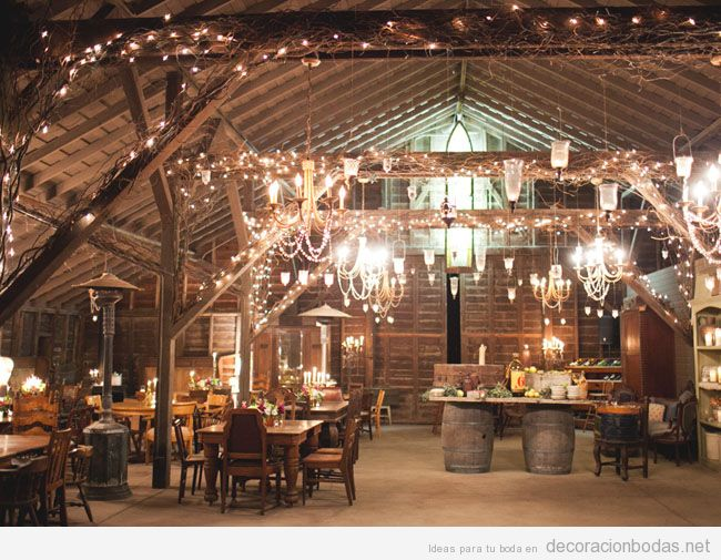 Decoración de boda con luces: en interior, al aire libre, en carpas y más