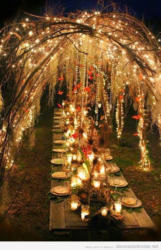 Decoración de boda exterior con luces 3