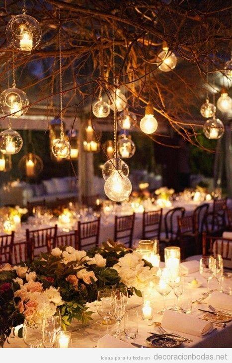 Decoración de boda exterior cenador con luces