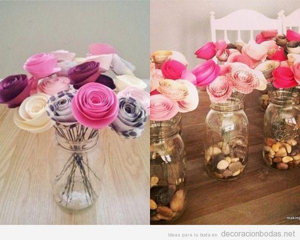 Centros de mesas originales con flores de papel para tu for Mesas de boda originales