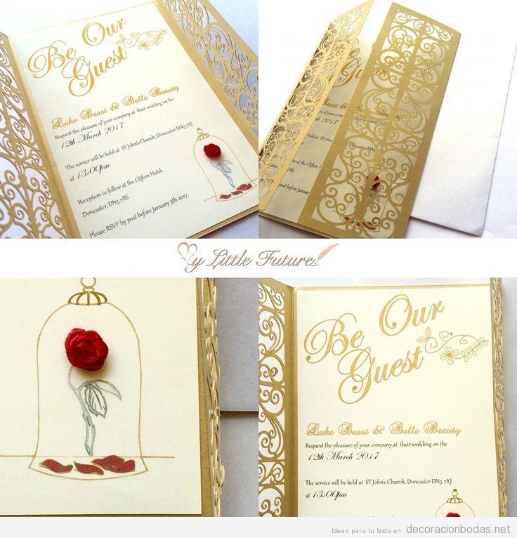 Invitaciones de boda inspiradas en La Bella y la Bestia 2