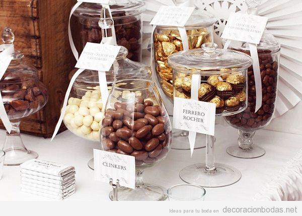 Barra de dulces boda con chocolate 2