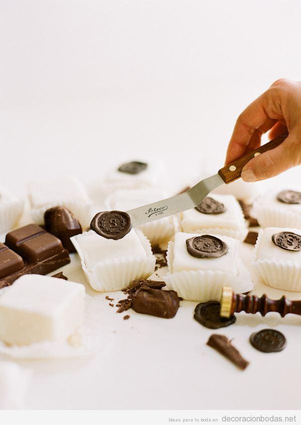 Sellos de chocolate para bodas