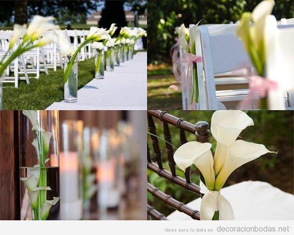 Flores lirios blancos o calas para decorar una ceremonia de boda
