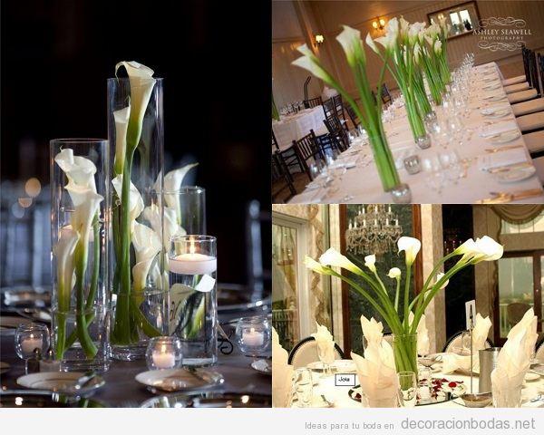 Centros de mesa de boda con lirios blancos o calas 2