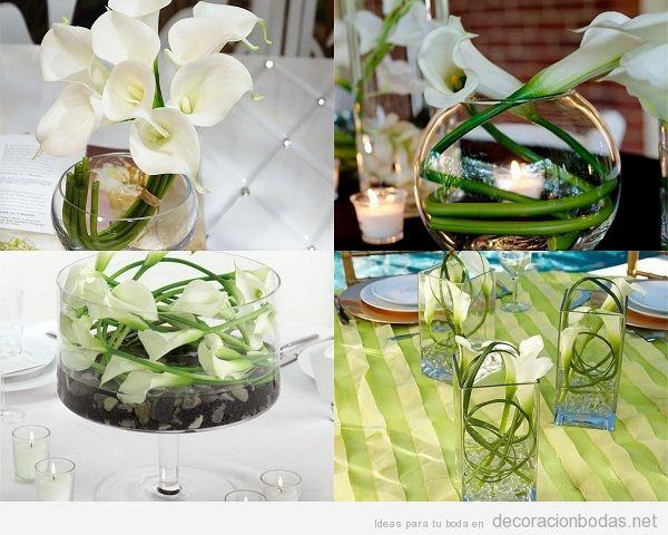 Centros de mesa de boda con lirios blancos o calas