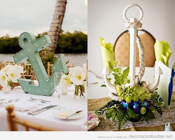 Centros de mesa para boda en la playa con anclas
