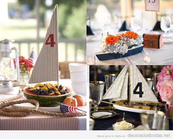 Centros de mesa para boda en la playa con barcos