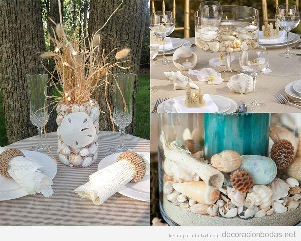 Centros de mesa para boda en la playa con conchas marinas