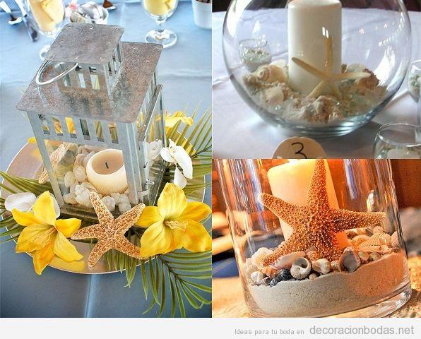 Centros de mesa para boda en la playa con estrellas de mar 2