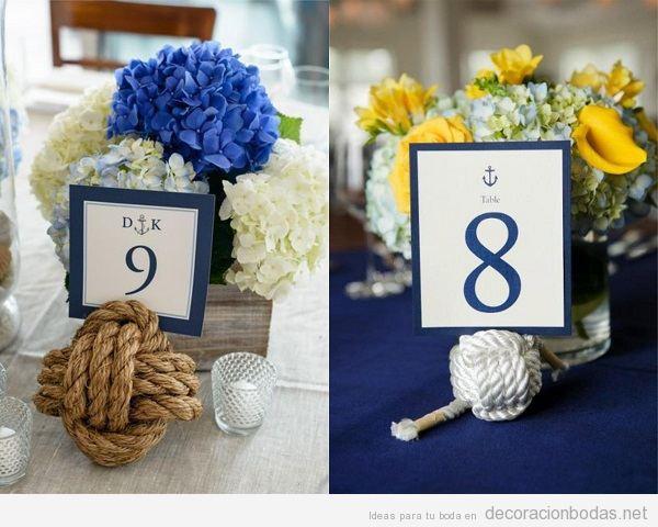 Centros de mesa para boda en la playa con nudos marineros