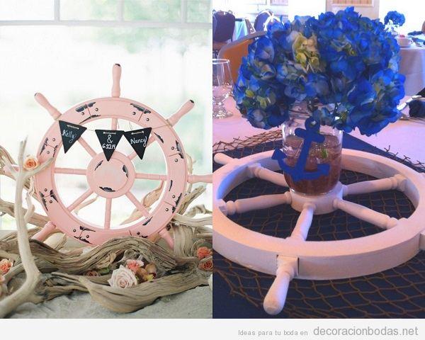 Centros de mesa para boda en la playa con timones