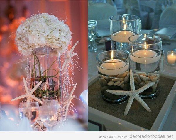 Centros de mesa para boda en la playa con estrellas de mar