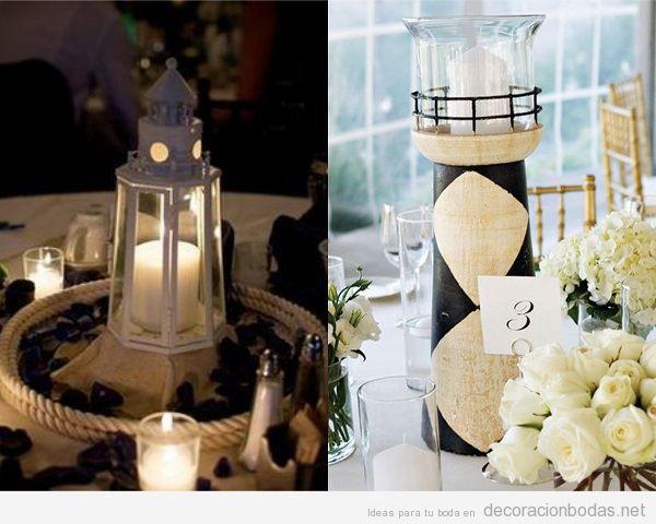 Centros de mesa para bodas en la playa : caracolas, estrellas de mar, faros, barcos, anclas y más