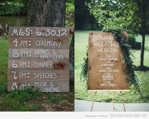 Carteles de madera para bodas, horario o timing