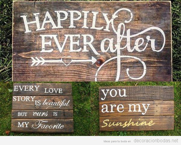 Carteles de madera para bodas, mensajes bonitos