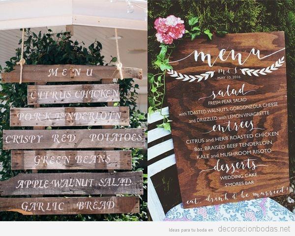 Carteles de madera para bodas, menú