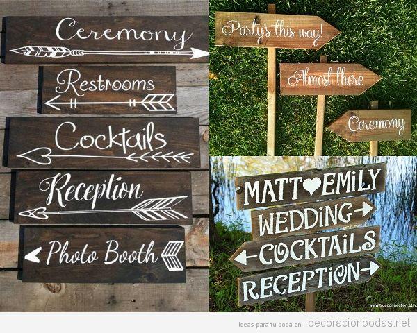 Carteles de madera para bodas, señales o indicaciones