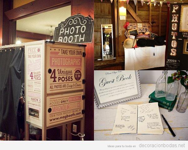 Fotomatón, photobooth y libro de visitas boda vintage