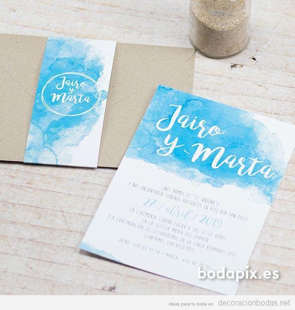 Invitaciones de boda con acuarela