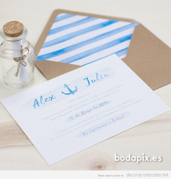 Invitaciones de boda con temática marinera