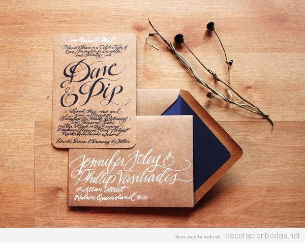 Tendencias decoración de bodas 2017 invitaciones con caligrafía
