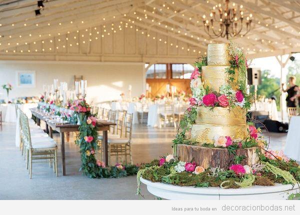 Tendencias decoración de bodas 2017 pastel dorado
