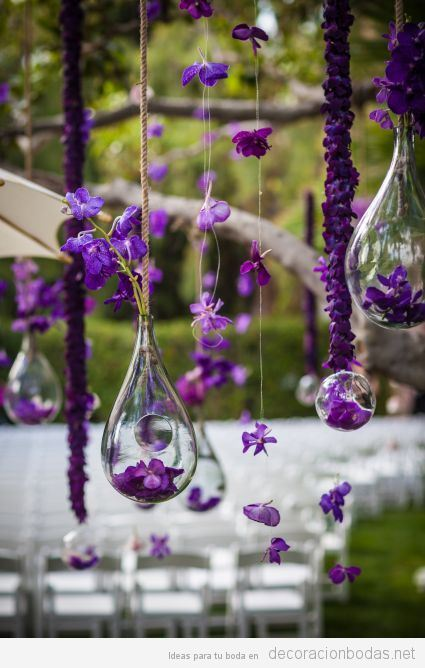 Decoración boda color pantone año 2018 ultra violet 9