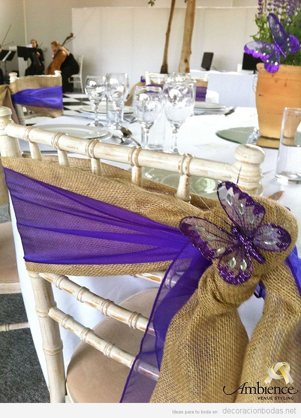 Decoración boda color pantone año 2018 ultra violet 11