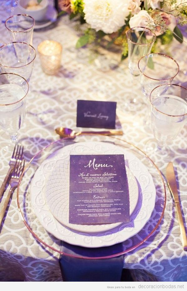 Decoración boda color pantone año 2018 ultra violet 12