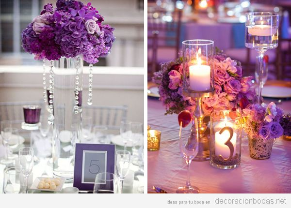 Decoración boda color pantone año 2018 ultra violet 8