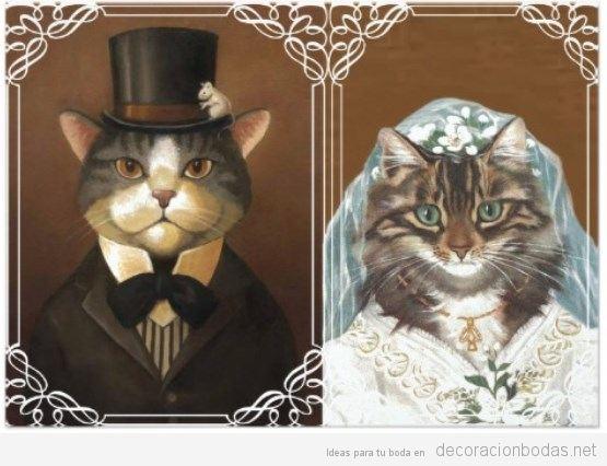 Invitación boda original gatos novios