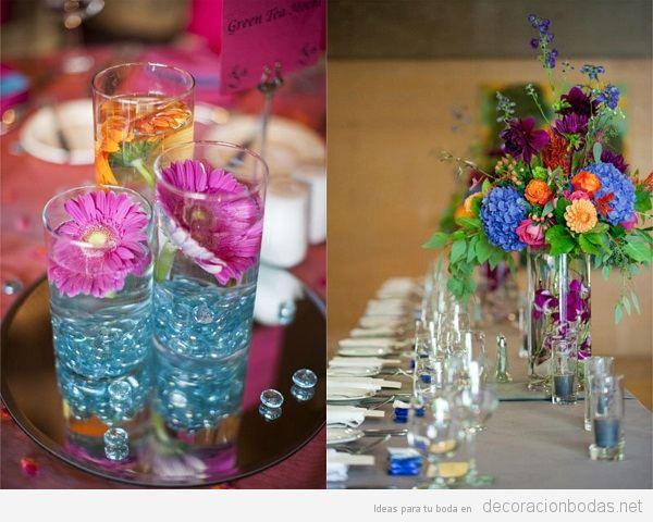 Tendencias decoración de boda verano 2018 centros de mesa
