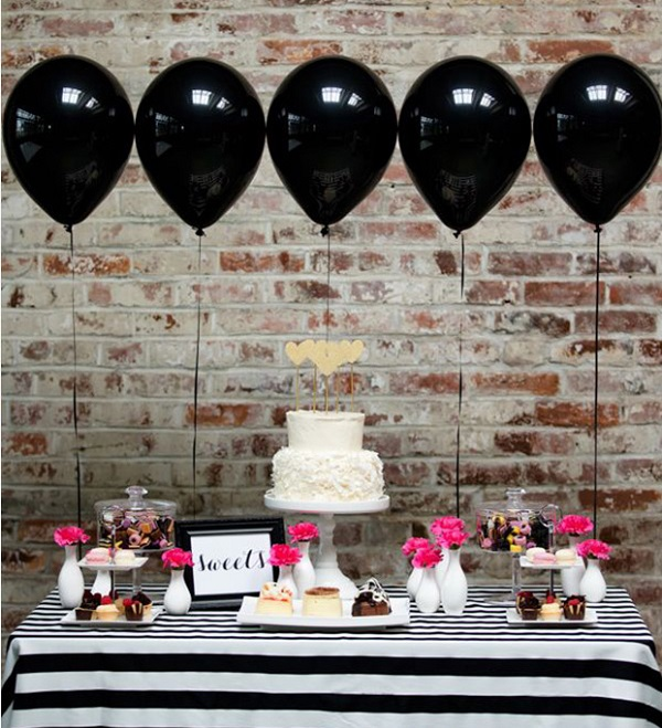 Decoración con globos para bodas, candy bar 2