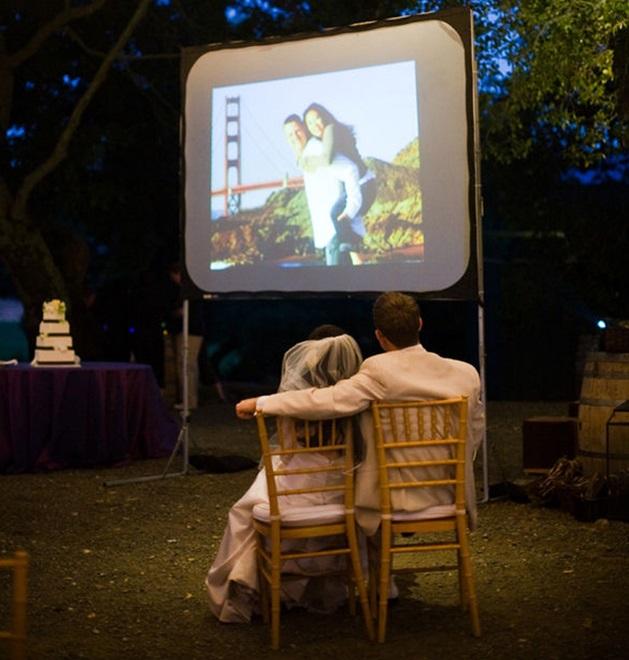 Alquiler pantalla proyección boda