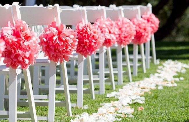 Sillas boda flores papel