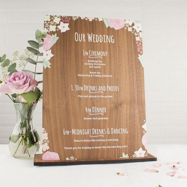 Planning horario boda