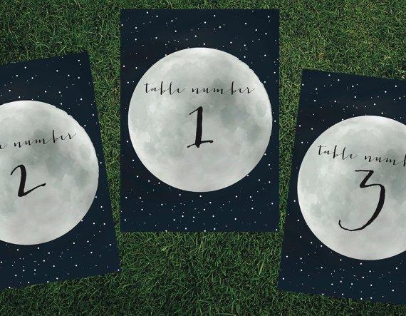Números mesa boda luna llena