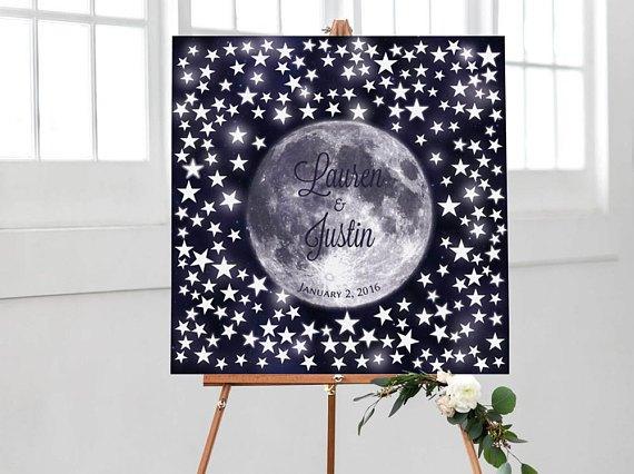 Cartel bienvenida boda luna llena