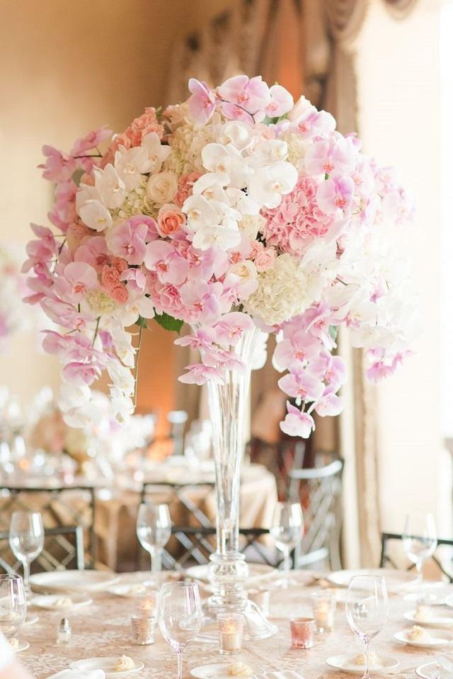 Centro mesa boda rosa