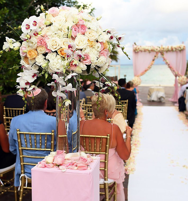 Flores rosas boda