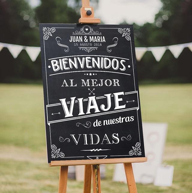 Pizarras para boda con mensajes bonitos