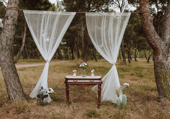 Decore o casamento ao ar livre rústico e vintage