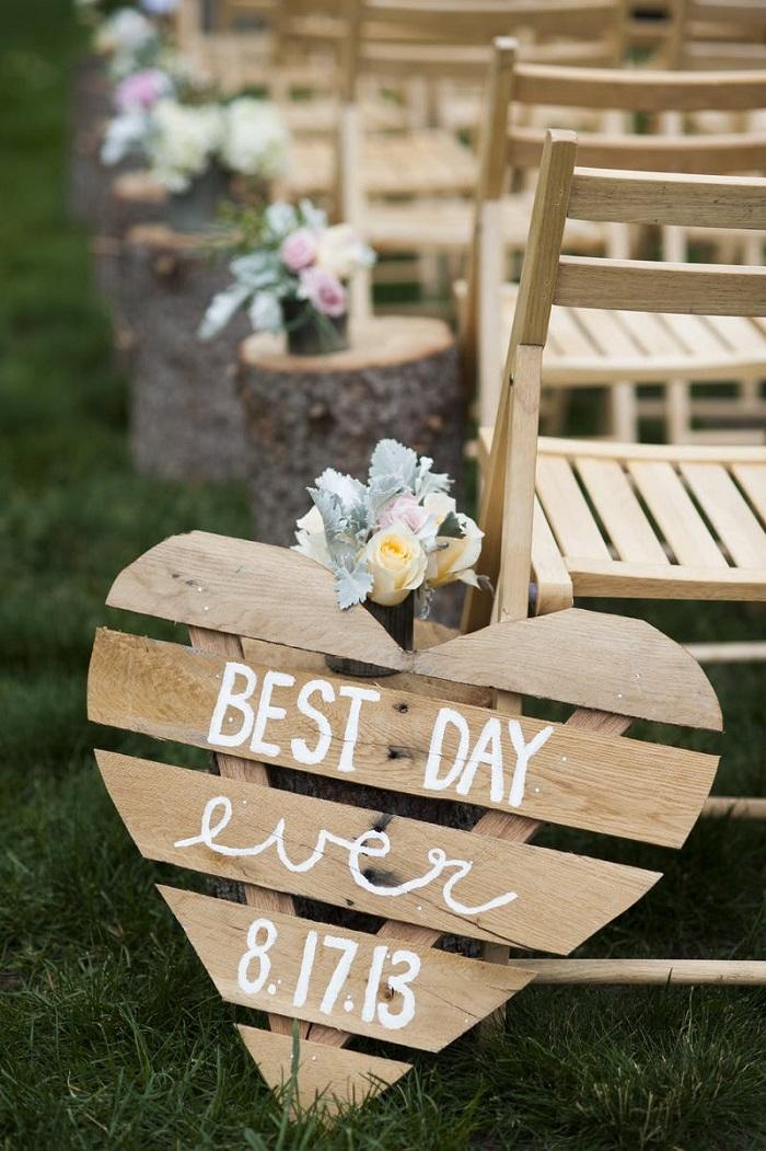 Cartel bienvenida boda palet DIY