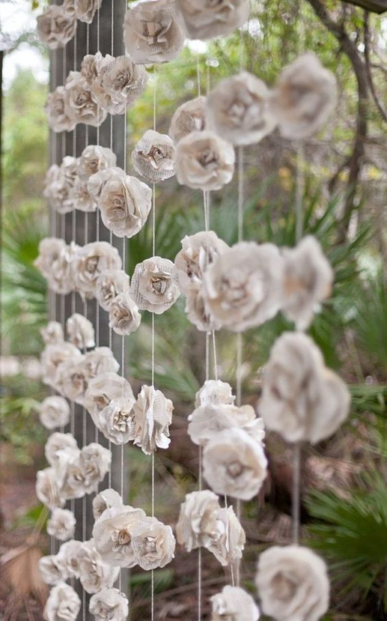 Flores papel cortina decorar boda