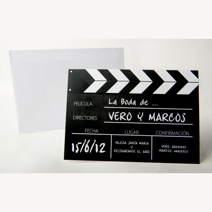 Convite de casamento de claquete de filme