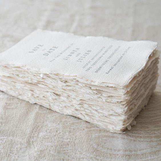 Invitaciones boda papel algodón DIY