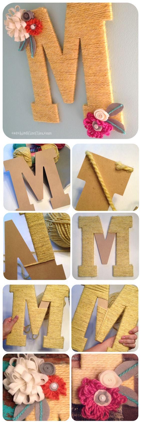 Letras cartón gigantes decoradas DIY bodas